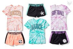 Sport-reppin' style tie-dye for. Justice Girls Clothes, Girls Sports Clothes, Girls Clothing Stores, Justice Clothing, Kids Outfits Girls, Cute Girl Outfits, Girls Fashion Clothes, Tween Fashion, Cute Outfits For Kids