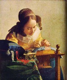 quadro di Vermeer donna con macchina da cucire