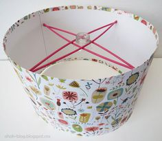 Create your own LAMPSHADE with thin cardboard, fabric and sticks!!!  for pendant light