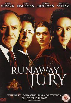 Runaway Jury is an American drama/thriller film starring John Cusack, Gene Hackman, Dustin Hoffman, and Rachel Weisz. It is an adaptation of John Grisham's novel. See Movie, Movie List, Rachel Weisz, Cinema Movies, Film Movie, Famous Movies, Good Movies, Watch Movies, Movies Showing