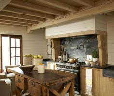 Eclectic Island Style Pale Yellow kitchen, maple/beach cabinets, Melanie Pounds,