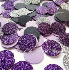 Purple, Silver & Black Glitter Party Confetti #SilverGlitter