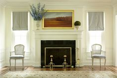great mantle painting and wonderful, simple shades. Damask Wallpaper Living Room, Custom Roman Shades, House On The Rock, Shades Blinds, Window Treatments, Architecture Design, Family Room, House Plans, Living Spaces