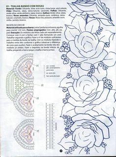 Pintura em Tecido Passo a Passo: Toalha com barra de rosas pintadas