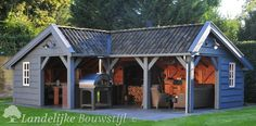 Kapschuur in Hoekmodel van Landelijke Bouwstijl Backyard Pavilion, Backyard Buildings, Backyard Landscaping, Garden Structures, Outdoor Structures, Summer Cabins, Garden Storage Shed, Diy Outdoor Kitchen, Garden Office