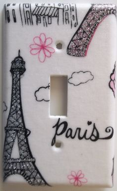 Pink Paris Eiffel Tower Glitter light switch by ChrisCraftiedecor Pink Bedroom For Girls, Girl Bedroom Walls, Bedroom Themes, Bedroom Decor, Wall Decor, Bedroom Ideas, Pink Paris Bedroom, Bedroom Crafts, Girl Rooms