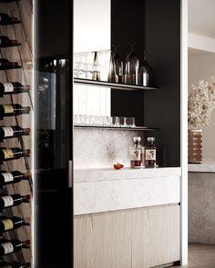 Built In Bar Cabinet, Contemporary Kitchen Renovation, Bathroom Design Inspiration, Interior Inspiration, Design Ideas, Home Bar Rooms, Home Bar Designs, Concrete Houses, Interior Design Kitchen