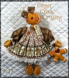 "♥♥ Primitive 19"" Raggedy Gingerbread Doll w Baby Ornie ♥♥ Ginger Creek Crossing 