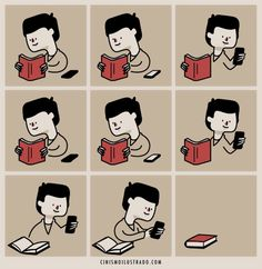 Reading next to a phone.