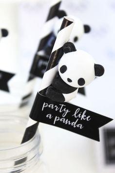 A panda, of course! Check out this monochromatic Party Like a Panda Birthday Party at Kara's Party Ideas Panda Party, Panda Themed Party, Panda Birthday Party, Bear Party, Bear Birthday, 8th Birthday, Little Panda, Panda Love, Pandas Baby