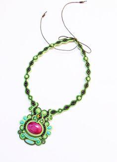 Soutache handmade jewelry. Cord necklace. Green by Soutachebypanka