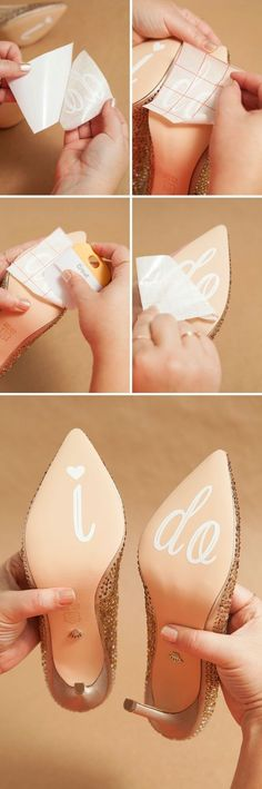 """DIY Idea! Not only is adding """"I Do"""" to your wedding shoes a simple touch to make your wedding accessories unique, but it also makes for a GREAT photo op!:   And this is how you do it. Yeah, it's as simple as it looks like. Just get a sticker with *I Do* printed on it and stick it to the backside of your bridal heels for a chic look. You can try using these on other things as well."""