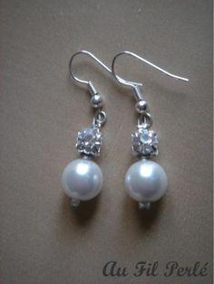 Boucles d'oreilles mariée perles nacrées et strass AFPBO042