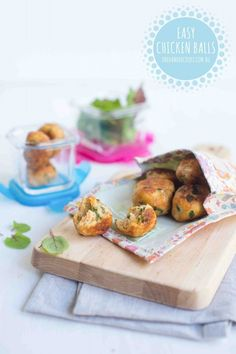 EASY CHICKEN BALLS: Mix and roll. A super simple finger food that's perfect for tasting plates and lunchboxes. Plenty for the freezer too. #onehandedooks