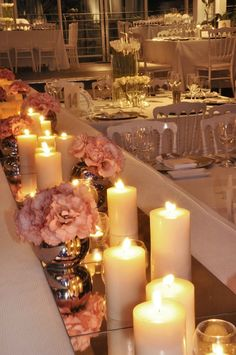Mirror tiles as table runners. Beautiful with the candles to reflect their light. but PURPLE