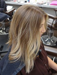 light brown with soft blonde...looks natural & similar to what I have been going for