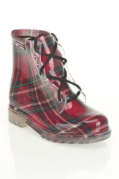 "Carnaby Boot in red tartan by Misty Mountain $40 - $20 @BeyondTheRack. Cushioned insole. Grip at sole. Lace up closure at front. 6"" Shaft, 12.5"" Circumference. 100% Rubber Upper, 100% Rubber Sole."