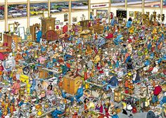 The Antique Show - Jan van Haasteren - Jigsaw Puzzle from Jumbo Hidden Pictures, Funny Pictures, Hidden Images, Avatar Poster, Wheres Wally, Picture Writing Prompts, Antique Show, Puzzle Art, Photo Puzzle