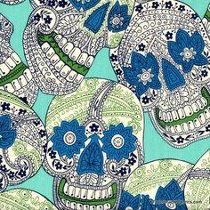 Fabric... Indigo Skull in aqua by Alexander Henry Fabrics