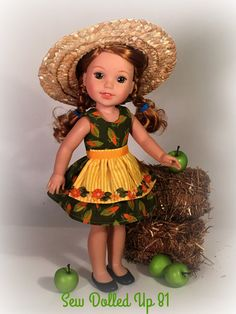 Willa is ready for the county fair in her harvest fun dress and apron set! This adorable little dress makes the best of the Indian Summer weather with its sleeveless, lined bodice and full skirt. The fall green fabric with golden yellow ears of corn is a perfect celebration for the fall season.  Topping the dress is an apron with a gold and yellow stripe and a fall colored flower trim across the hem. A straw hat is the finishing touch!  The set includes the dress, apron and hat. The doll…
