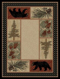 Delectably Yours Decor Black Bear Pine Lodge Rug 5x8 or 8x10