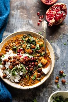 Sweet Potato Lentil Curry with Crispy Sesame Chickpeas. - - Sweet Potato Lentil Curry with Crispy Sesame Chickpeas.** Sweet Potato Lentil Curry with Crispy Sesame Chickpeas. Veggie Recipes, Indian Food Recipes, Whole Food Recipes, Vegetarian Recipes, Cooking Recipes, Healthy Recipes, Vegetarian Curry, Vegan Lentil Curry, Vegetarian Sweets