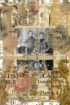 Collage with vintage photo