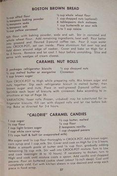 Old Recipes, Cookbook Recipes, Vintage Recipes, Crockpot Recipes, Cooking Recipes, Crock Pot Bread, Crock Pot Slow Cooker, Rival Crock Pot, Heritage Recipe
