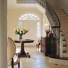 Foyer with Stairs (Like the angle of the stairs)
