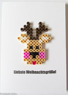 Christmas card reindeer hama perler by Lisbeth-Erika melt perler beads and attach to card Perler Bead Designs, Hama Beads Design, Pearler Bead Patterns, Diy Perler Beads, Perler Bead Art, Perler Patterns, Christmas Perler Beads, Art Perle, Peler Beads