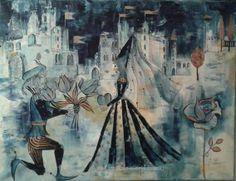 """""""The Wedding"""" ofthe Tulip Prince"""", Mixed Media on canvas, 60 x 80 cm, (c) Cordula Kerlikowski"""