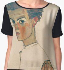 Egon Schiele - Self-Portrait with Striped Shirt 1910  Expressionism  Portrait Blusa