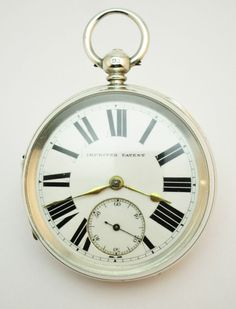 c1893, ANTIQUE LARGE SOLID SILVER OPEN FACE 'IMPROVED PATENT' FUSEE POCKET WATCH