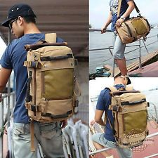 Brown Vintage Canvas Shoulder Bag Backpack For Hiking Camping Travel School 654c67a083ca7