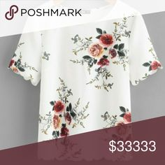 Floral Scalloped Tee Bright and trendy floral scalloped tee! 1S 1M 1L available! Tops Tees - Short Sleeve