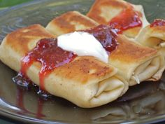 Cheese Blintzes With Strawberry-Rhubarb Compote