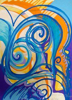 Krimi zur guten Nacht (1998) Tempera auf strukturiertem Postkartenkarton 10,5 x 14,5