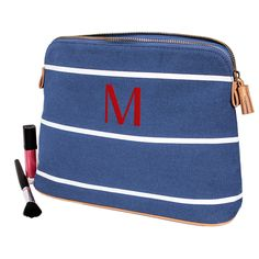 Personalized Blue Striped Cosmetic Bag (Z)