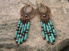 Turquoise Dangle Earrings Turquoise and by PenningtonRustica