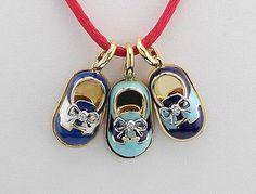 Aaron Basha Blue Enamel, 18K Yellow Gold, White Gold & Diamond Baby Shoe Charms - http://designerjewelrygalleria.com/aaron-basha/aaron-basha-blue-enamel-18k-yellow-gold-white-gold-diamond-baby-shoe-charms/