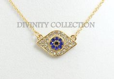 Gold Evil Eye Necklace Pave Crystal Pendant by divinitycollection