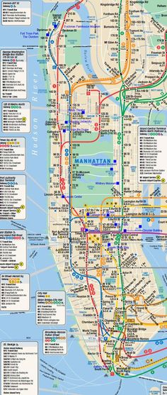 large detailed subway map of manhattan manhattan new york city