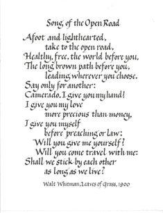 Handwritten Poem, Song of the Open Road by Walt Whitman, custom calligraphy on Etsy, $30.00
