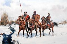 Nasrid horsemen (zenetas) patrolling the slopes of the Sierra Nevada. Historical Art, Historical Pictures, Pictures Of Russia, Old Warrior, Medieval Drawings, Armadura Medieval, Château Fort, Fantasy Rpg, Military Art