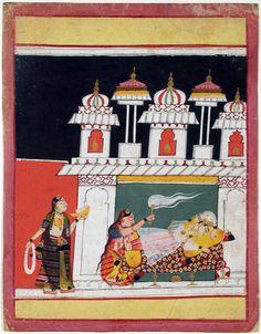 Lalit Ragini of Sri. Ragamala, Series: Varani Ragini, Opaque watercolor and gold on paper, India, Malwa (Mandu), ca. 1640, The San Diego Museum of Art