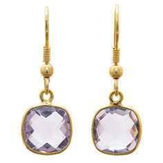 Gold-plated Brass Faceted Amethyst Handmade Earrings https://sitaracollections.com/collections/goldplated-jewelry/products/gold-plated-brass-faceted-amethyst-earrings
