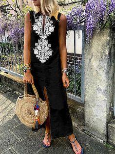 Cotton Floral Sleeveless Maxi Shift Dress – Linen Dresses For Women Shift Dresses, Plus Size Maxi Dresses, Linen Dresses, Women's Dresses, Casual Dresses, Sleeveless Dresses, Casual Outfits, Printed Dresses, Flowing Dresses