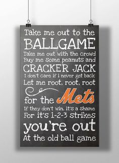 New York Mets- Take Me Out to the Ballgame Chalkboard Print on Etsy, $12.00