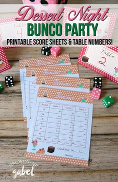 A Dessert Night themed Bunco party is easy to throw thanks to our free Bunco party score card sheets and table number printables and delicious food dessert ideas! Bunco Game, Bunco Party, Bunco Prizes, Bunco Themes, Bunco Ideas, Party Ideas, Party Printables, Free Printables, Bunco Score Sheets