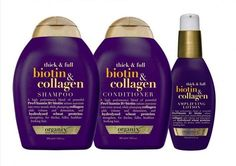 From another pin: Organix thick & full biotin & collagen.You can buy them at Walmart. The shampoo and conditioner has no sulfates and smells amazing! The root boost spray (or the lotion one too) really thickens your hair. Biotin Shampoo, Shampoo And Conditioner, Biotin Hair, Big Hair, Your Hair, Full Hair, Natural Hair Care, Natural Hair Styles, Twisted Hair
